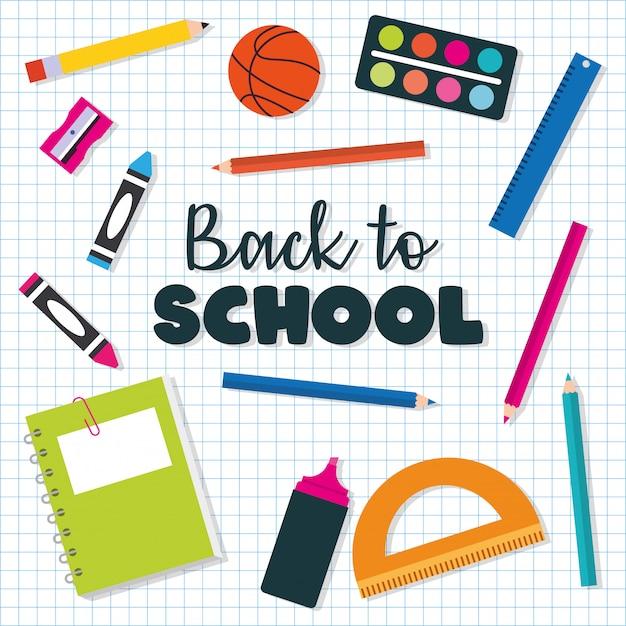Torna al design del banner scolastico Vettore Premium