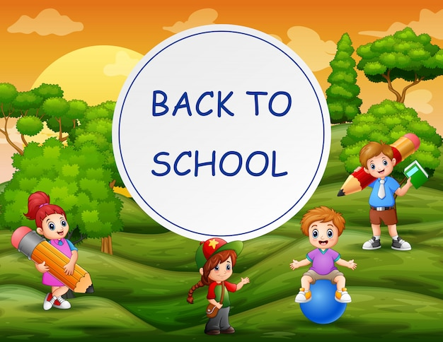 Torna al modello di scuola con bambini felici Vettore Premium