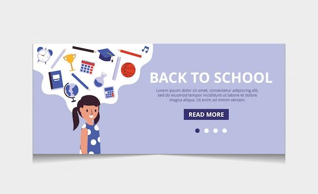 Torna al vettore della pagina di destinazione della scuola Vettore Premium