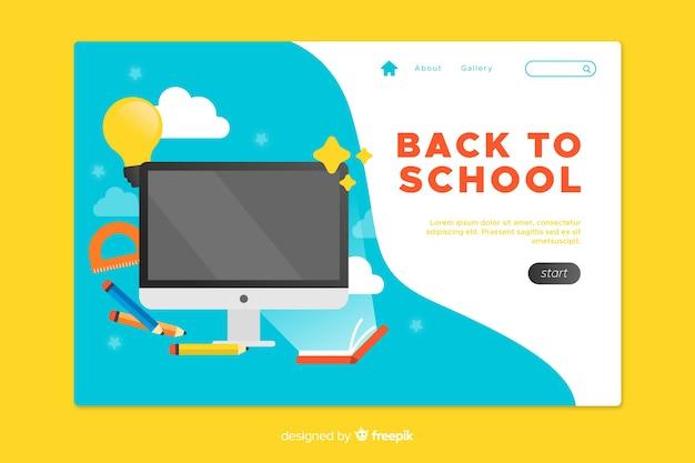 Torna alla pagina di destinazione della scuola con sfondo blu Vettore gratuito