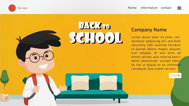 Torna alla pagina di destinazione della scuola con un ragazzo carino Vettore Premium