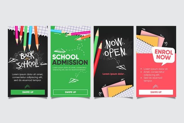 Torna alla raccolta di storie di instagram di scuola Vettore gratuito