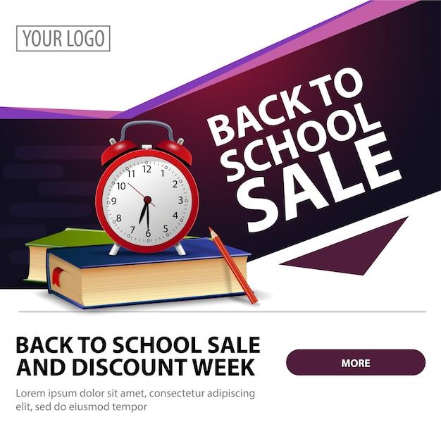 Torna alla vendita della scuola, banner web quadrato moderno ed elegante Vettore Premium