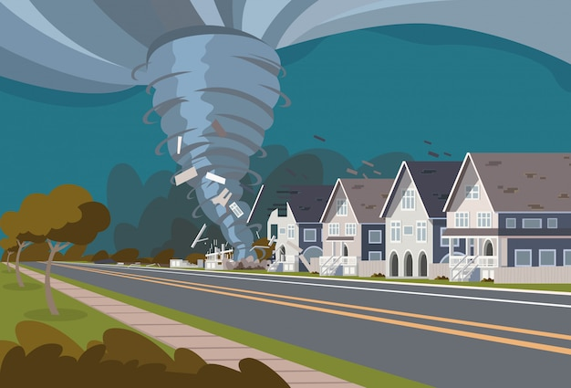 Tornado vorticoso nel villaggio distrugge le case Vettore Premium