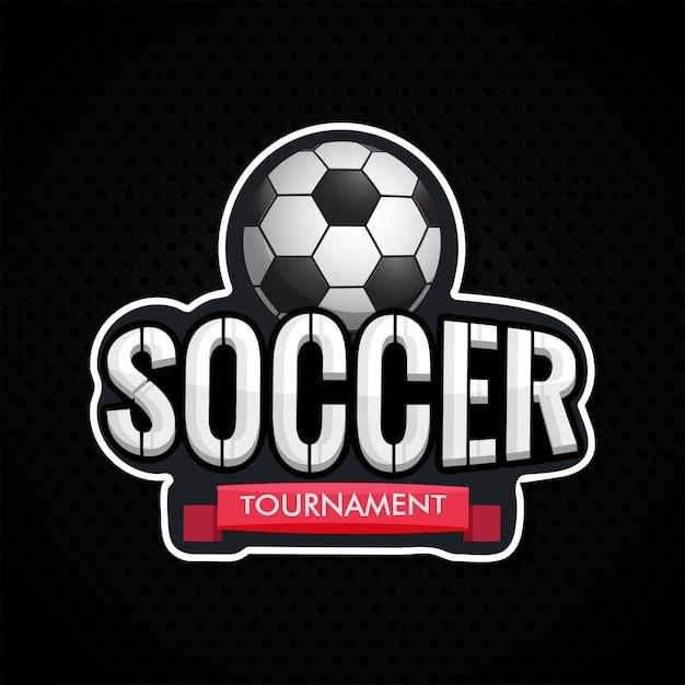Torneo di calcio del testo di stile dell'autoadesivo con il illustrati della sfera di calcio Vettore Premium