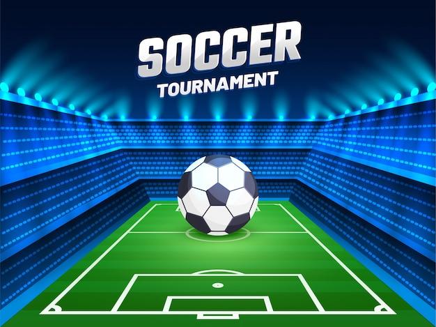 Torneo di calcio. progettazione del fondo con l'illustrazione di pallone da calcio sullo stinco Vettore Premium