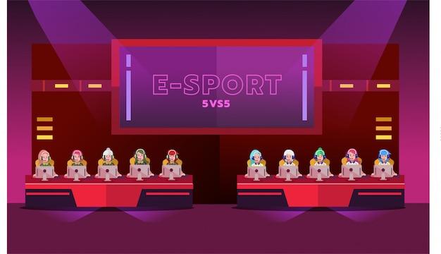 Torneo di e-sport girl Vettore Premium