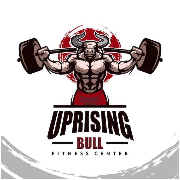 Toro con corpo forte, fitness club o logo palestra. Vettore Premium