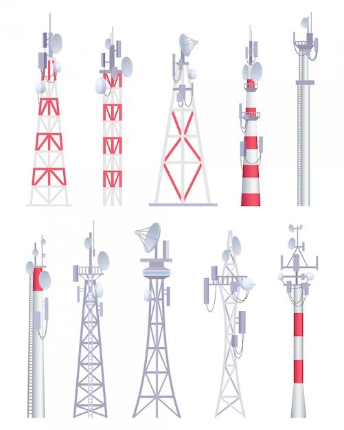 Torre di comunicazione. immagini di vettore della costruzione satellitare della radio senza fili della radio senza fili della televisione cellulare nello stile del fumetto Vettore Premium