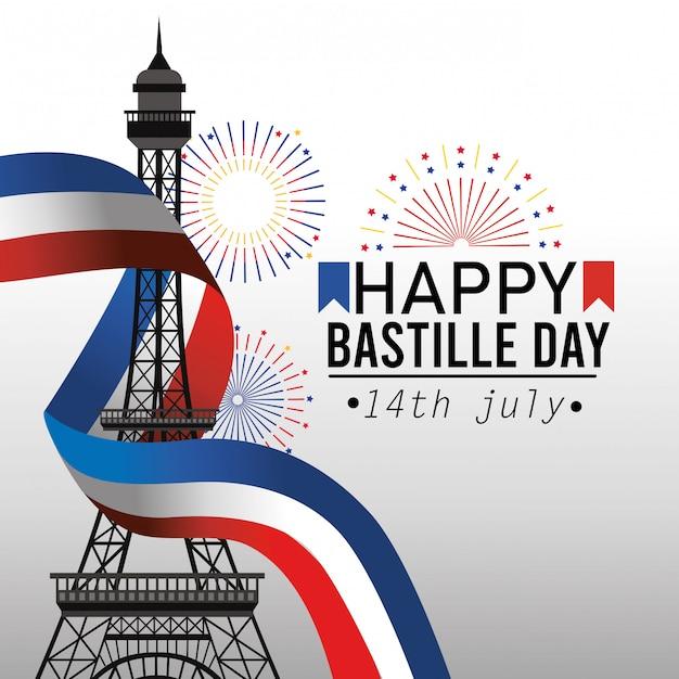 Torre eiffel con il nastro della bandiera della francia Vettore gratuito