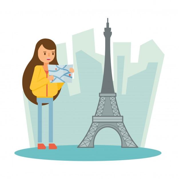 Torre Eiffel Parigi Parigi viaggio carattere cartone animato vacanza Vettore Premium