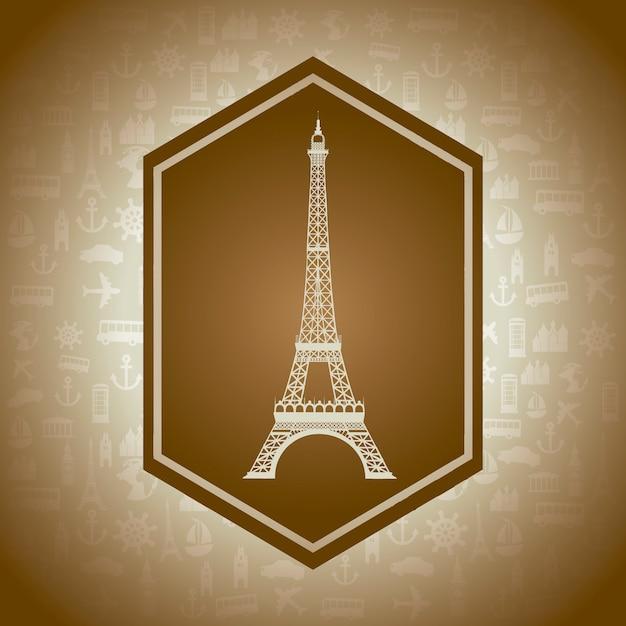 Torre eiffel su sfondo marrone illustrazione vettoriale Vettore Premium