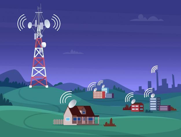 Torre wireless panoramica. illustrazione mobile del segnale digitale radiofonico della televisione mobile di copertura dell'antena satellitare Vettore Premium