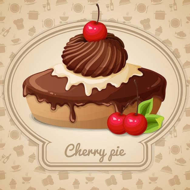 Torta di ciliegie Vettore gratuito