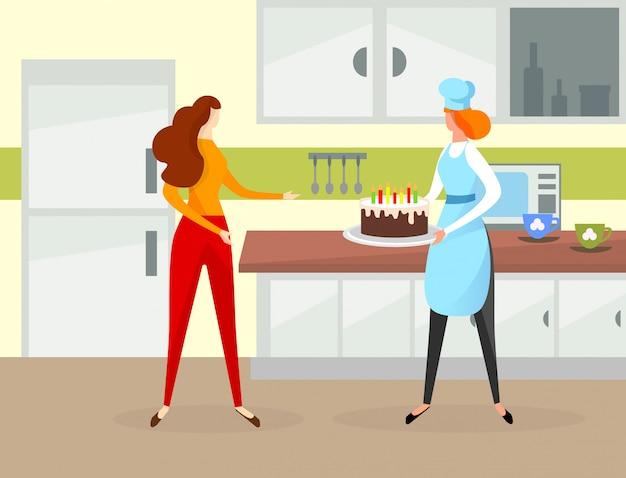 Torta di compleanno della tenuta del carattere della ragazza con le candele. Vettore Premium