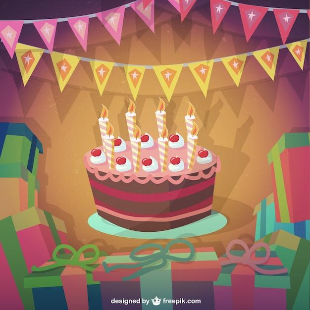 Torta di compleanno in stile cartone animato scaricare vettori