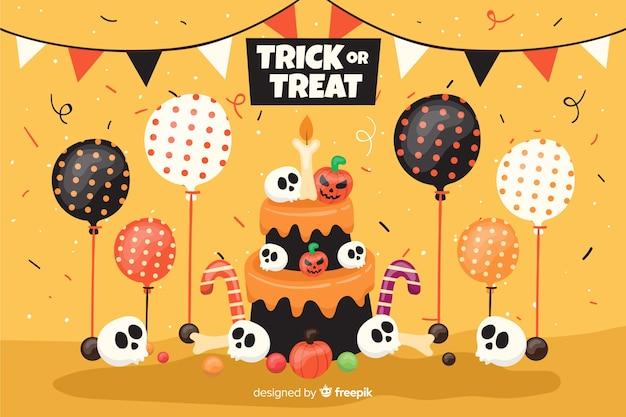Torta di compleanno piana del fondo di halloween con i palloni Vettore gratuito