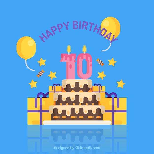 Torta di compleanno sfondo con candele e regali Vettore gratuito