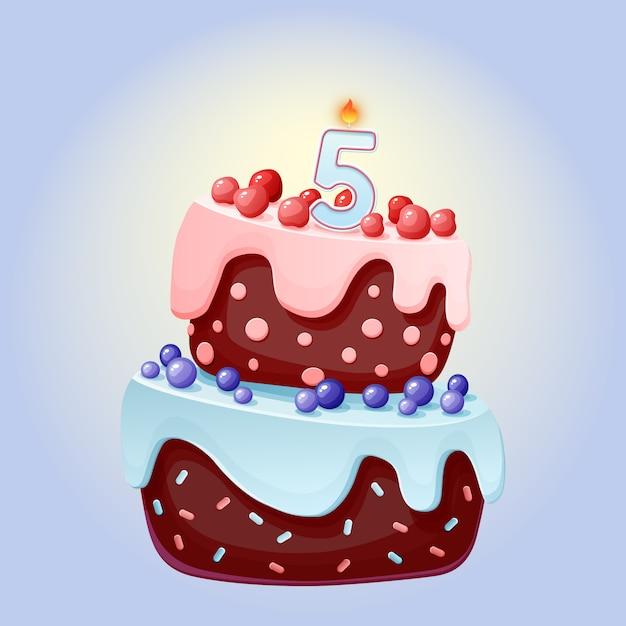 Torta festiva di compleanno del fumetto sveglio di 5 anni con la candela numero cinque Vettore Premium