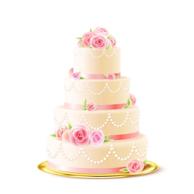 Torta nuziale classica con rose realistiche Vettore Premium