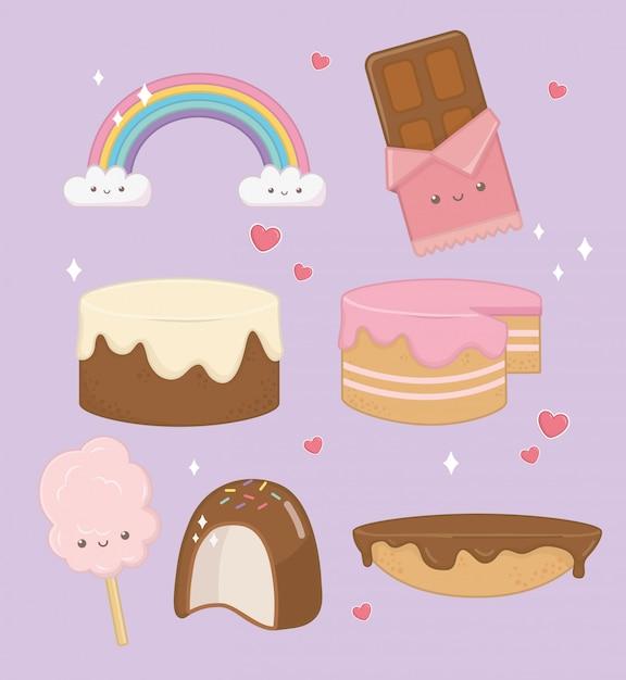 Torte dolci con personaggi kawaii Vettore gratuito