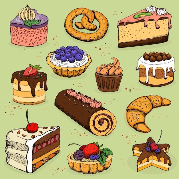 Torte e prodotti di farina per panetteria pasticceria scaricare vettori gratis - Coloriage farine ...