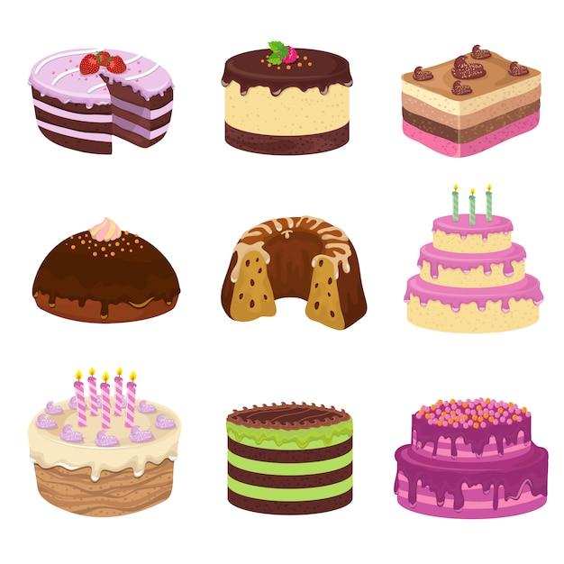 Torte saporite di vettore della festa di compleanno. anniversario che decora torta e cupcakes Vettore Premium