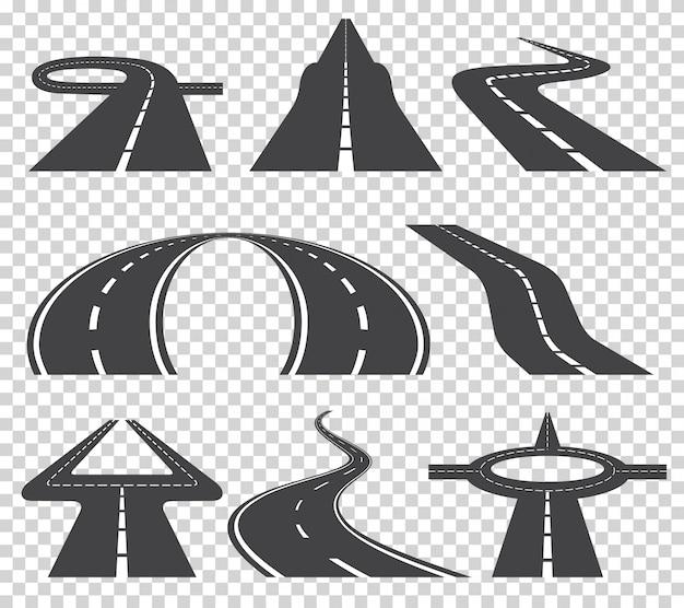 Tortuosa strada tortuosa o autostrada con marcature. Vettore Premium
