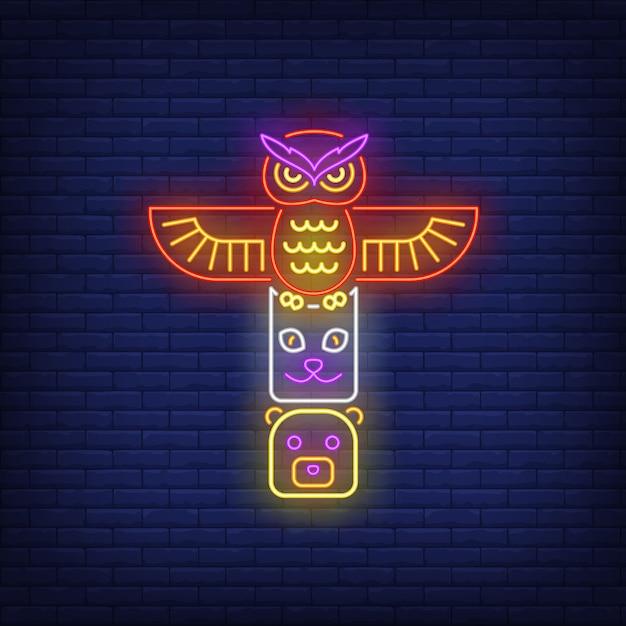 Totem con insegna al neon di animali Vettore gratuito