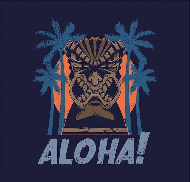 Totem della maschera di tiki arrabbiato tribale delle hawaii vintage idolo aloha Vettore Premium