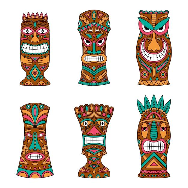 Totem tahitiano disegnato a mano. Vettore Premium