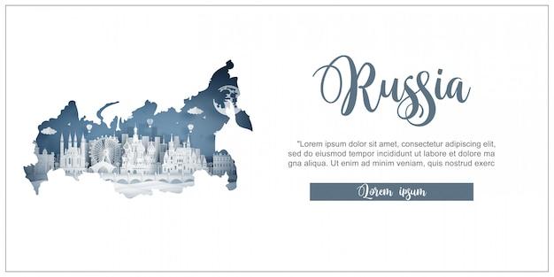 Tour e modello di pubblicità di viaggio con il viaggio a mosca, in russia con famosi monumenti Vettore Premium