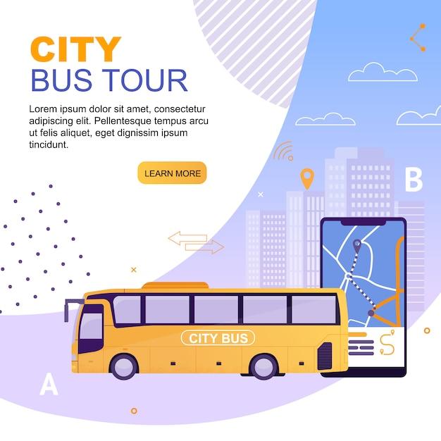 Tour per il city bus tour con il modello web della pagina di destinazione Vettore Premium