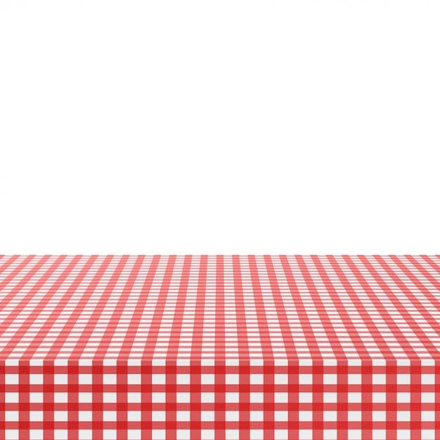Tovaglia d'angolo rossa su bianco Vettore Premium