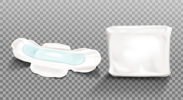 Tovagliolo sanitario e confezione di plastica vuota clip art Vettore gratuito