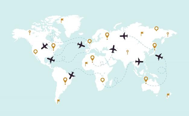 Tracce dell'aereo della mappa del mondo. percorso della pista di aviazione sulla mappa di mondo, sulla linea di rotta dell'aeroplano e sull'illustrazione delle rotte di viaggio Vettore Premium