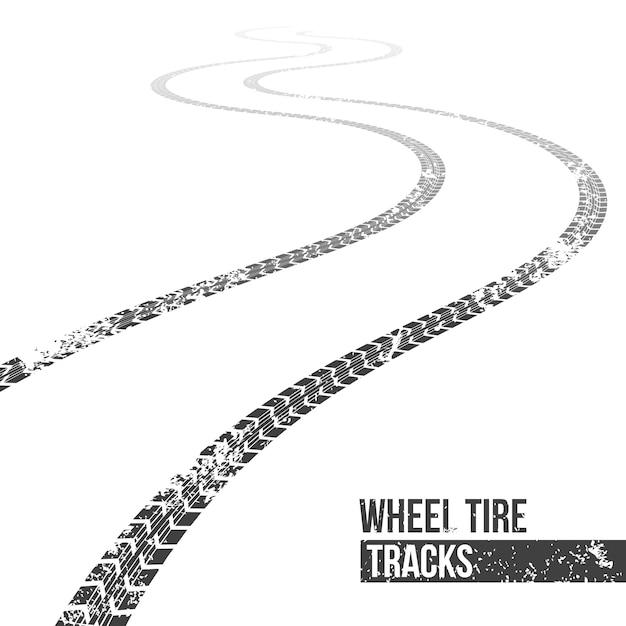 Tracce di pneumatici delle ruote. traccia di avvolgimento Vettore Premium