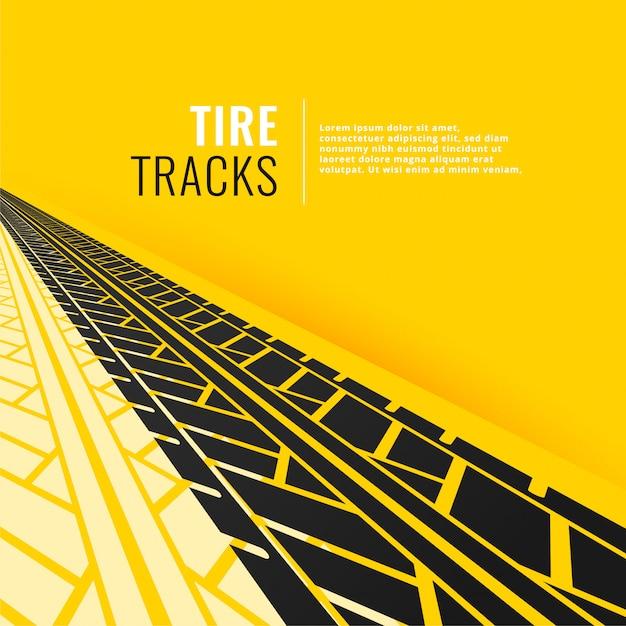 Tracce di pneumatici in prospettiva su sfondo giallo om Vettore gratuito