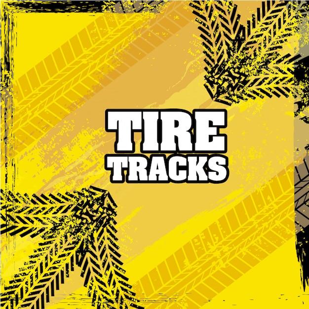 Tracce di pneumatici su sfondo giallo illustrazione vettoriale Vettore Premium