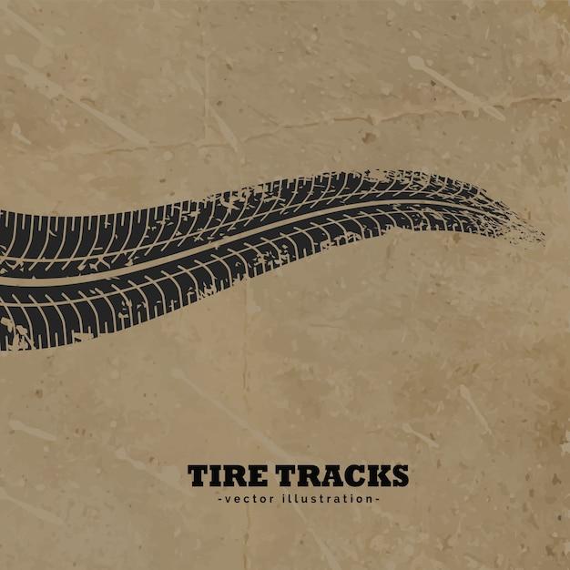 Tracce di pneumatici sul fango fondo vettore Vettore gratuito
