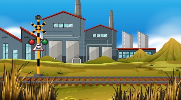 Traccia del treno di fabbrica Vettore gratuito