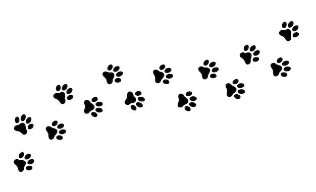 Traccia di zampa di gatto, cane e cucciolo. Vettore Premium