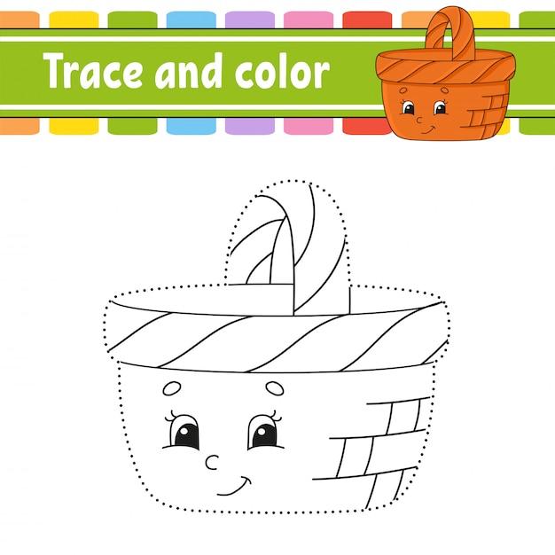 Traccia e colora. Vettore Premium