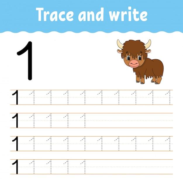 Traccia e scrivi. pratica della scrittura a mano. imparare i numeri per i bambini. Vettore Premium