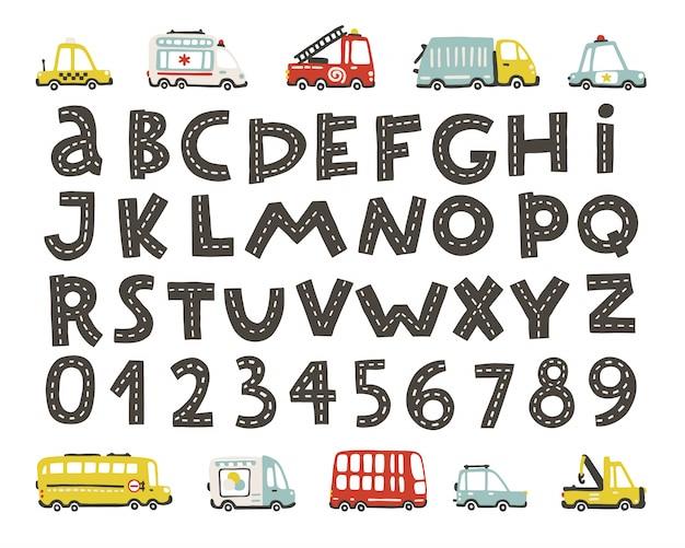 Traccia l'alfabeto stradale, i numeri. set di city car per bambini. comico trasporto divertente. illustrazioni del fumetto di vettore nello stile scandinavo disegnato a mano Vettore Premium