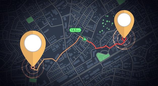 Tracciamento del modello delle icone di gps con la freccia di distanza sulla mappa della città Vettore Premium