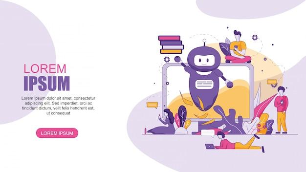 Traduttore online orizzontale banner piatto chatbot. Vettore Premium