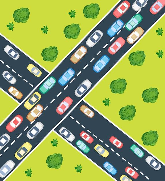Traffico autostradale Vettore Premium