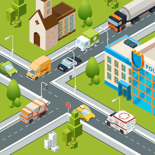 Traffico cittadino. interseziona le automobili che si muovono attraversando le illustrazioni di paesaggio urbano isometrico simboli di zebra di sicurezza stradale Vettore Premium
