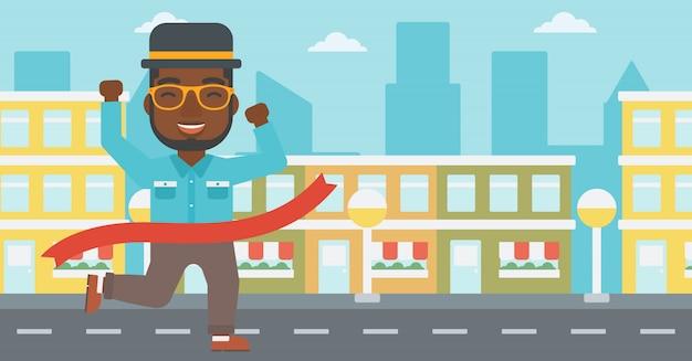 Traguardo di attraversamento di uomo d'affari. Vettore Premium